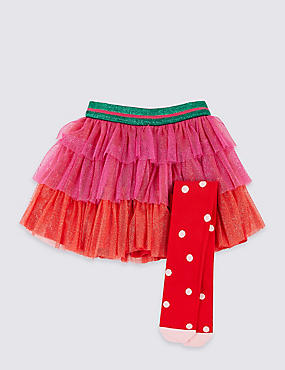 Tutu Skirt with Tights (3 Months - 7 Years), PINK MIX, catlanding