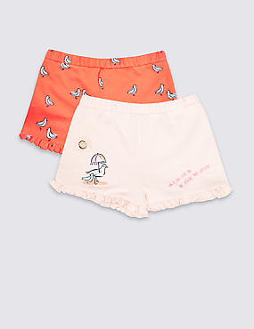 2 Pack Frill Shorts (3 Months - 7 Years), MULTI, catlanding