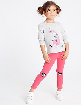 Cottom Leggings with Stretch (3 Months - 7 Years), BRIGHT PINK, catlanding