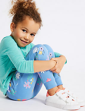 Floral Print Joggers (3 Months - 7 Years), BLUE MIX, catlanding