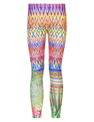 Contrast Print Leggings Clothing