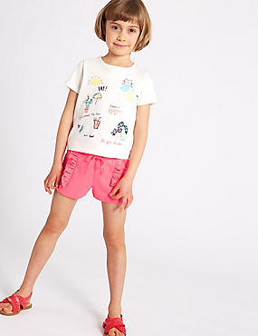 Cotton Blend Frill Shorts (3 Months - 7 Years), LILAC, catlanding