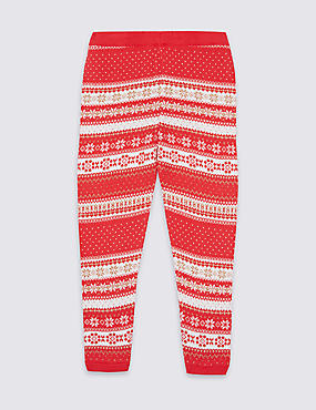 Cotton Rich Intarsia Knit Leggings (3 Months - 6 Years)