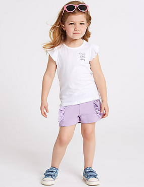 Cotton Rich Shorts (3 Months - 7 Years), Lilac, catlanding