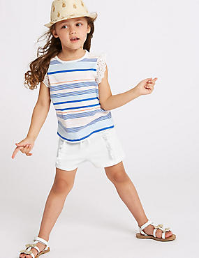 Cotton Rich Shorts (3 Months - 7 Years), WHITE, catlanding
