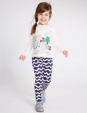 Cotton Rich Wave Print Jeggings (3 Months - 5 Years)