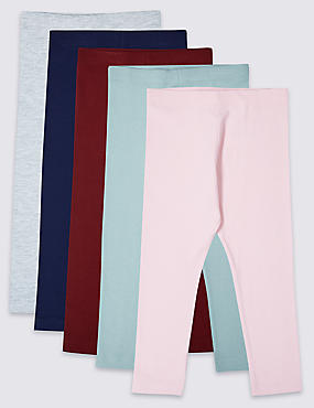 5 Pack Cotton Rich Leggings with Stretch (3 Months - 7 Years), MULTI, catlanding
