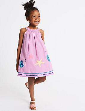 Pure Cotton Dress (3 Months - 7 Years), PURPLE, catlanding