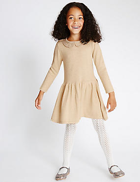 Cotton Rich Sparkle Knitted Dress (1-10 Years)