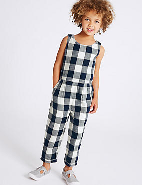 Pure Cotton Checked Jumpsuit (3 Months - 5 Years)