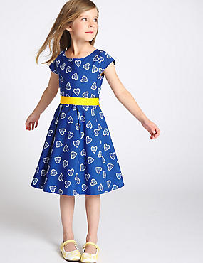 Pure Cotton Heart Print Dress (1-7 Years)