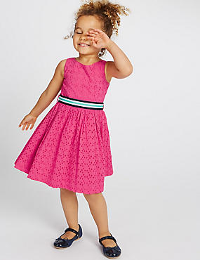 Pure Cotton Broderie Dress (1-10 Years)