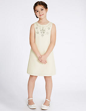 Collar Detailed Shift Dress (4-14 Years)