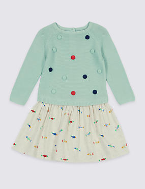 Pure Cotton Long Sleeve Dress (3 Months - 5 Years)