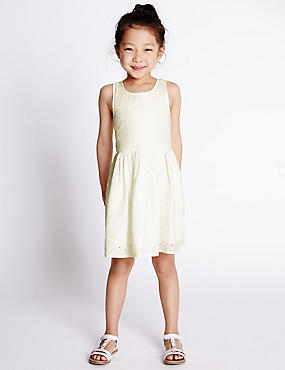 Pure Cotton Woven Heart Pointelle Dress (1-7 Years)