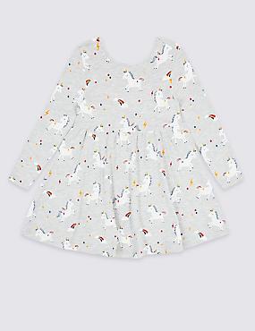 Unicorn Print Dress (3 Months - 7 Years), GREY MIX, catlanding