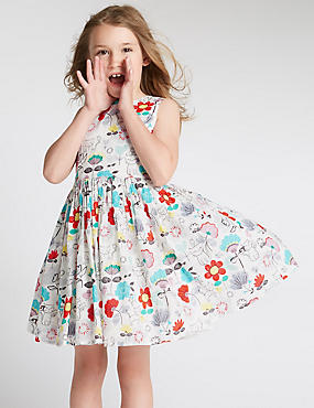 Pure Cotton Assorted Print Prom Dress (1-7 Years)