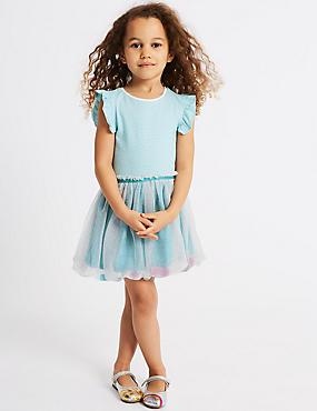 Puffball Hem Dress (3 Months - 7 Years), GREEN MIX, catlanding