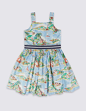 Pure Cotton Square Neck Dress (1-10 Years)