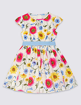 Pure Cotton Floral Print Dress with Belt (1-10 Years)
