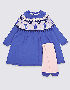 Dress with Tights Outfit (3 Months - 7 Years), PURPLE, catlanding