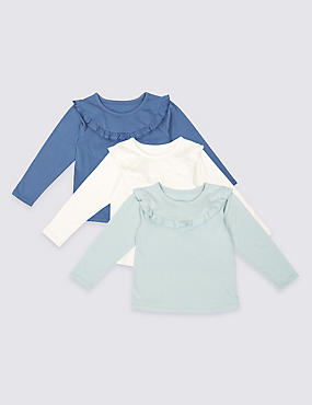 3 Pack Pure Cotton Frill Detail Tops (3 Months - 5 Years)