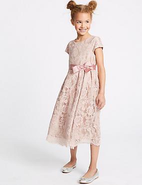Lace Bow Dress (1-16 Years), PEACH, catlanding