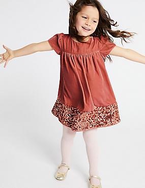 Velvet Sequins Dress (3 Months - 7 Years), PINK MIX, catlanding