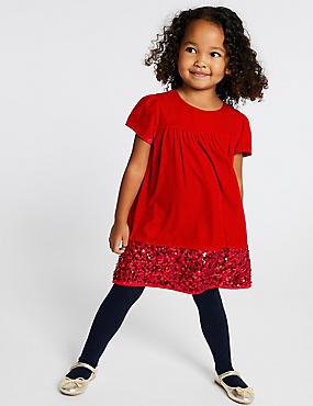 Velvet Sequins Dress (3 Months - 7 Years), RED, catlanding