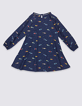 All Over Print Cotton Dress with Stretch (3 Months - 5 Years)