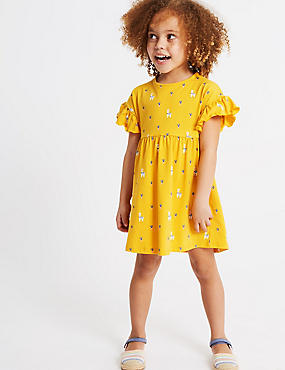Pure Cotton Dress (3 Months - 7 Years), YELLOW MIX, catlanding