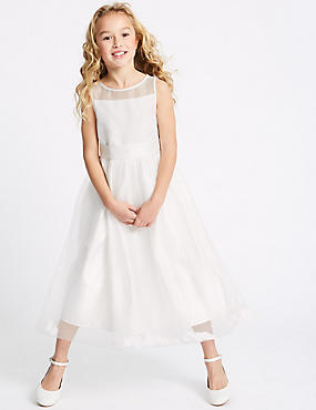 Longer Length Petal Hem Dress (1-16 Years), IVORY, catlanding