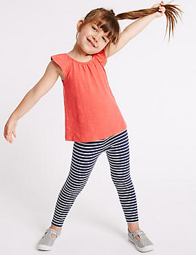 Striped Cotton Leggings with Stretch (3 Months - 5 Years)
