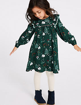 Dress & Tights Outfit (3 Months - 7 Years), EVERGREEN, catlanding