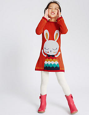 Pure Cotton Bunny Knitted Dress with Tights (1-7 Years)