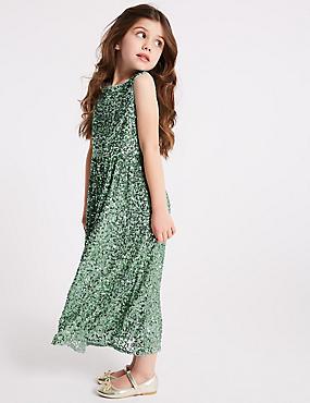 Sequin Maxi Dress (3-16 Years), GREEN, catlanding