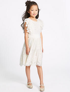 Pure Cotton Lace Dress (3-16 Years), IVORY, catlanding
