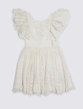 Pure Cotton Lace Dress (3-16 Years)