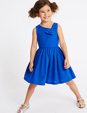 Pleated Bow Dress (3 Months - 7 Years), COBALT, catlanding