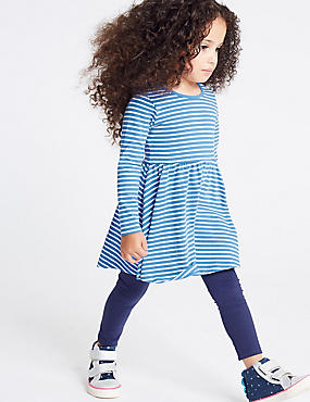 Pure Cotton Striped Dress (3 Months - 7 Years), BLUE MIX, catlanding