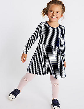 Pure Cotton Striped Dress (3 Months - 7 Years), NAVY MIX, catlanding
