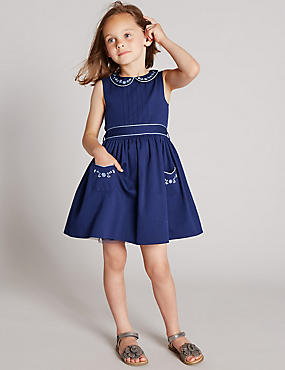 Pure Cotton Floral Peter Pan Collar Belted Dress (1-7 Years)