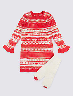 2 Piece Cotton Rich Knitted Dress with Tights (3 Months - 6 Years)