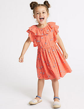 Pure Cotton Frill Dress (3 Months - 7 Years), CORAL MIX, catlanding