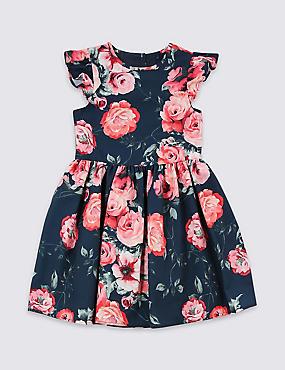 Floral Print Dress (3 Months - 7 Years), NAVY MIX, catlanding