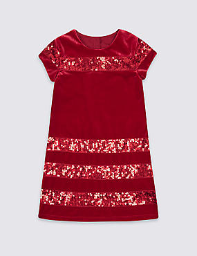 Sequin Short Sleeve Dress (1-10 Years)