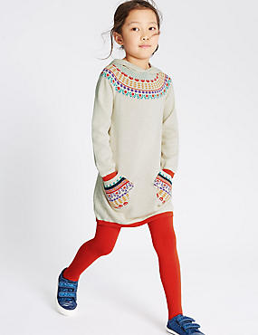 Intarsia Knitted Dress with Tights & Gloves (1-7 Years)