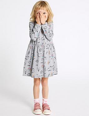 Pure Cotton Dress (3 Months - 7 Years), GREY MIX, catlanding