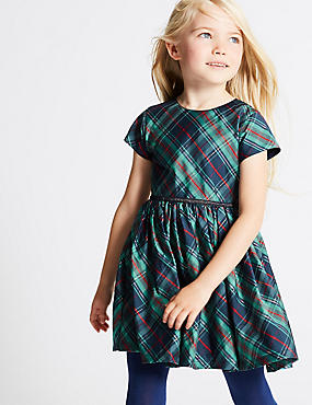 Short Sleeve Checked Dress (1-10 Years)