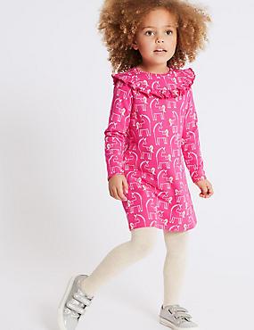 Unicorn Print Dress (3 Months - 7 Years), BRIGHT PINK MIX, catlanding